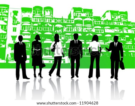 Illustration of business people and buildings