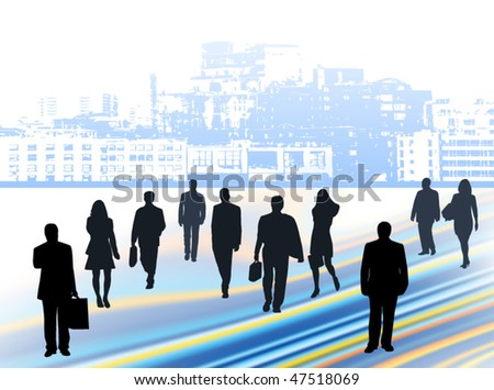 Illustration of business people and city