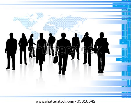 Illustration of business people and graph - stock vector