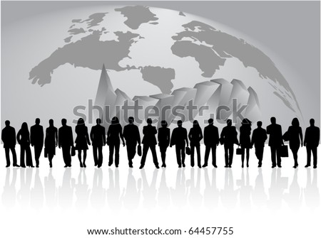 Illustration of business people and map - stock vector