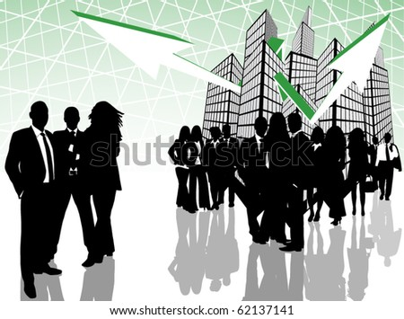 Illustration of business people, arrows and city - stock vector