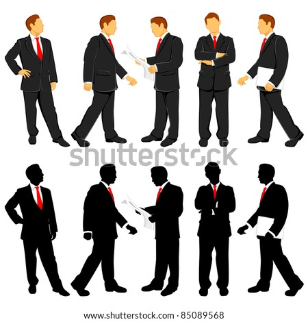illustration of business people doing different activities - stock vector