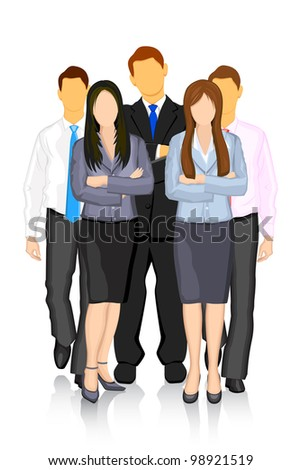 illustration of business people forming team - stock vector
