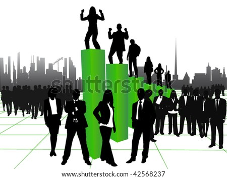 Illustration of business people, graph and city