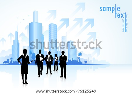 illustration of business people in townscape with arrow - stock vector
