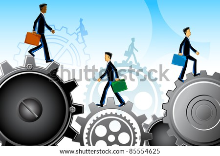 illustration of business people moving on gear - stock vector