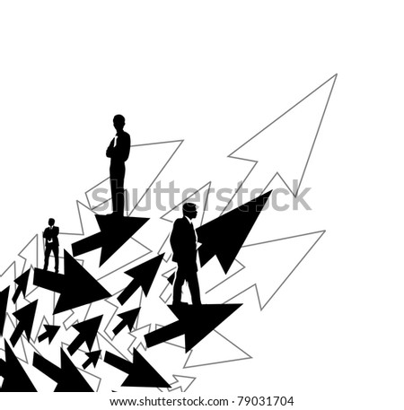 Illustration of business people on arrow background - stock vector