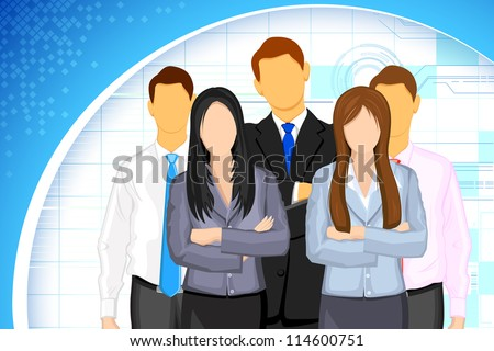 illustration of business people on business background - stock vector