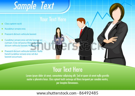 illustration of business people on business background with graph line - stock vector