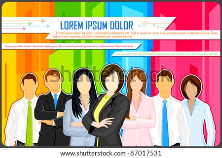 illustration of business people on colorful abstract background - stock vector
