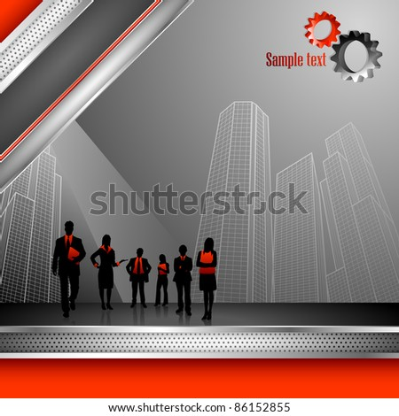 illustration of business people on corporate background with office building - stock vector