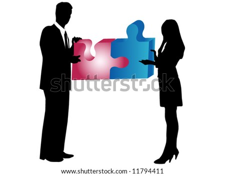 Illustration of business people silhouette and puzzle - stock vector