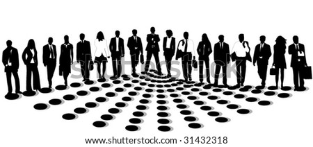 Illustration of business people silhouettes