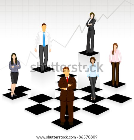 illustration of business people standing on different level of chess board - stock vector