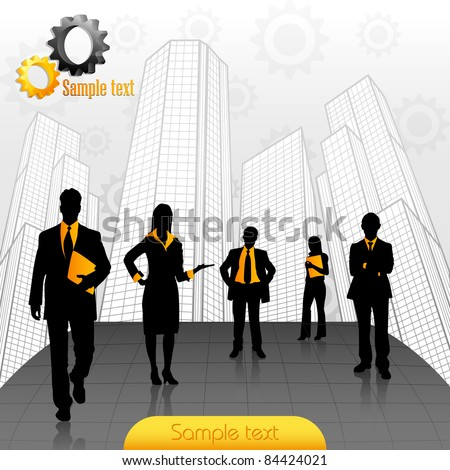 illustration of business people standing on office building backdrop - stock vector