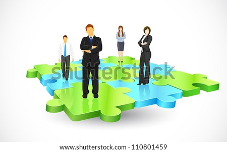 illustration of business people standing on pieces of jigsaw puzzle - stock vector