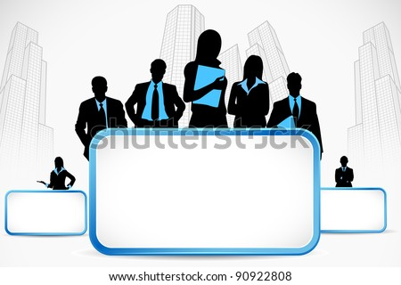 illustration of business people standing with placard on city backdrop - stock vector