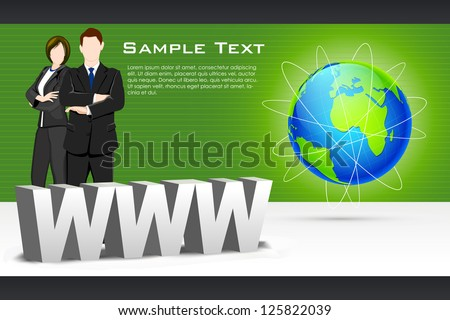 illustration of business people standing with www and globe - stock vector