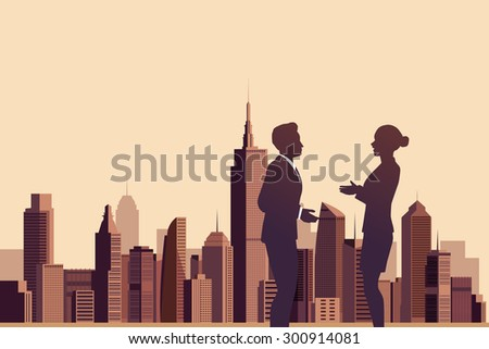 Illustration of business people talking with a city background - stock vector
