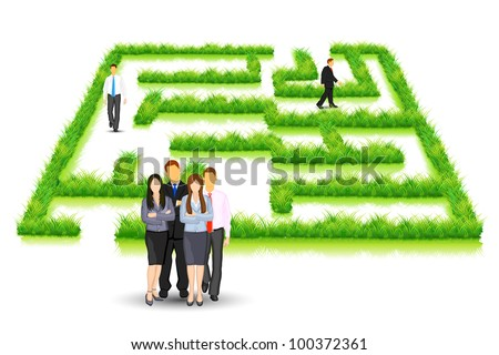 illustration of business people walking in grass maze puzzle - stock vector