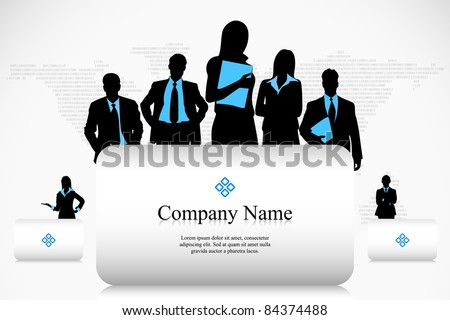illustration of business people with placard on earth map background - stock vector