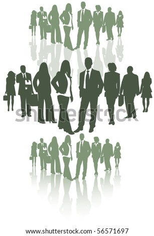 Illustration of business people with shadows - stock vector