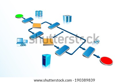 Illustration of business process Orchestrating various legacy, enterprise systems and accepting user inputs through user activity - stock vector