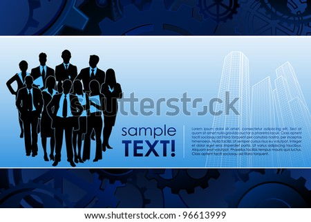 illustration of business team standing on corporate building background - stock vector