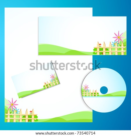 illustration of business template with business card,cd cover and letter head - stock vector