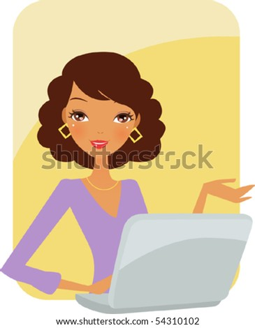 Illustration of business woman in office - stock vector