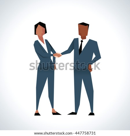 Illustration Of Businessman And Businesswoman Shaking Hands