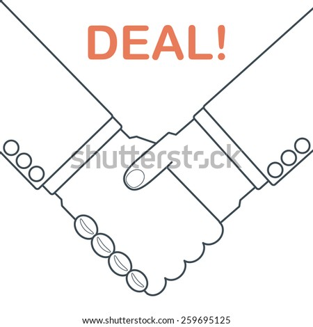 Illustration of businessman doing a handshake to make a deal - stock vector