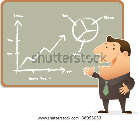 Illustration of businessman doing presentation - stock vector