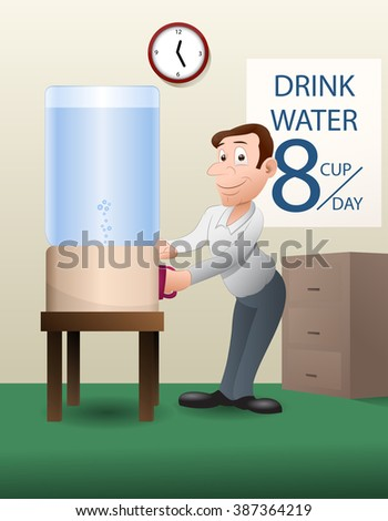 illustration of  businessman  drinking water on office background
