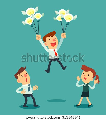 Illustration of businessman holding a group of idea bulbs float above others - stock vector