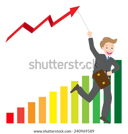 Illustration of businessman running with business arrow wave kite on chart vector. - stock vector