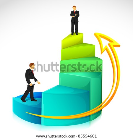 illustration of businessman standing on bar graph on abstract background - stock vector