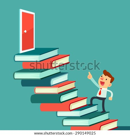 Illustration of businessman walking upward on book staircase to the door - stock vector