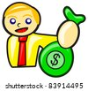 illustration of businessman with dollar - stock vector