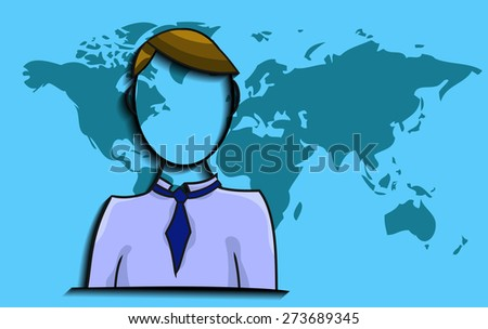 Illustration of businessman with world map - stock vector