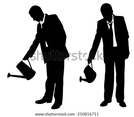 illustration of businessmen with sprinklers - stock vector
