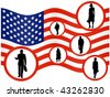 Illustration of businesspeople and flag - stock vector
