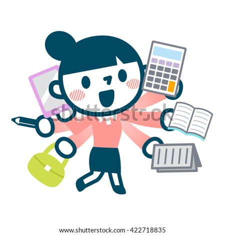 Illustration of busy career woman - stock vector