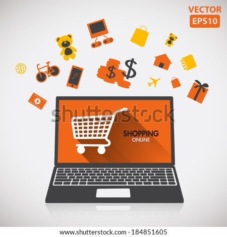 Illustration of buying and shopping online with icon vector - stock vector
