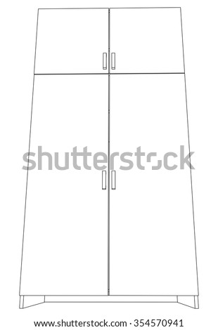 Illustration of cabinet on white background, vector - stock vector