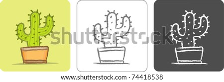 Illustration of Cactus Color Sketch - stock vector