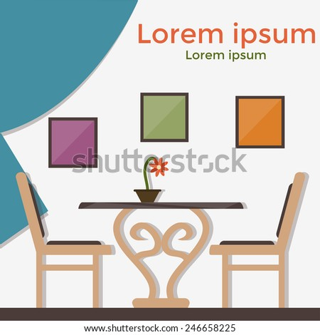 Illustration of cafe, restaurant, table, chairs - stock vector