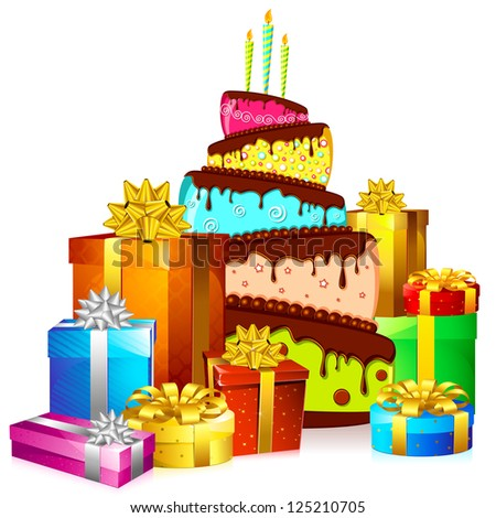 illustration of cake with colorful gift boxes on white background - stock vector