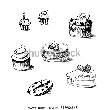 Illustration of cakes by sketch, bakery sticker. Candy, sweet banner. Vector - stock vector