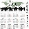 Illustration of calendar for 2010. year - Monday start. - stock vector